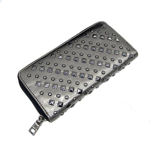Studded Metallic Champagne Punk  Long Line Wallet Purse