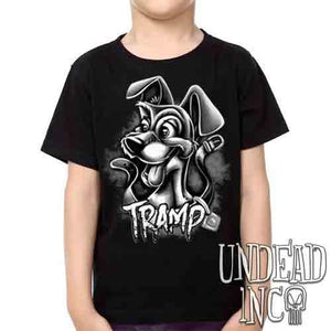 TRAMP Black & Grey -  Kids Unisex Girls and Boys T shirt