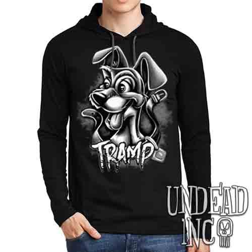 TRAMP Black & Grey - Mens Long Sleeve Hooded Shirt