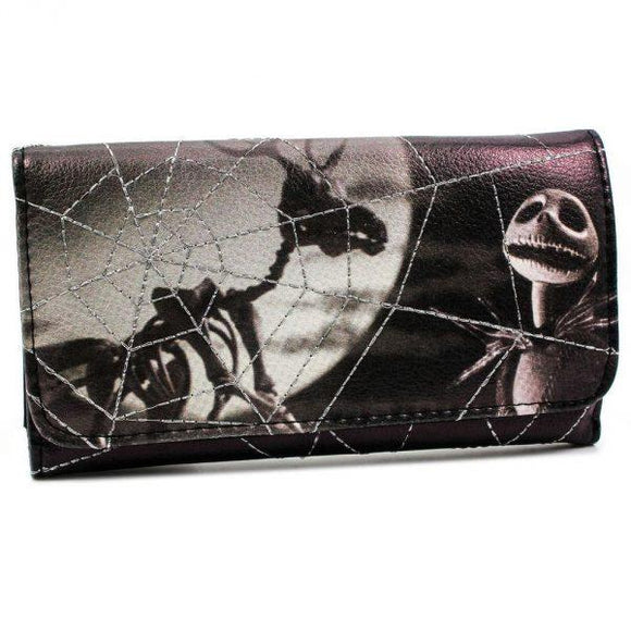 Nightmare before Christmas Haunted Silver Web Jack Skellington Long Line Wallet Purse