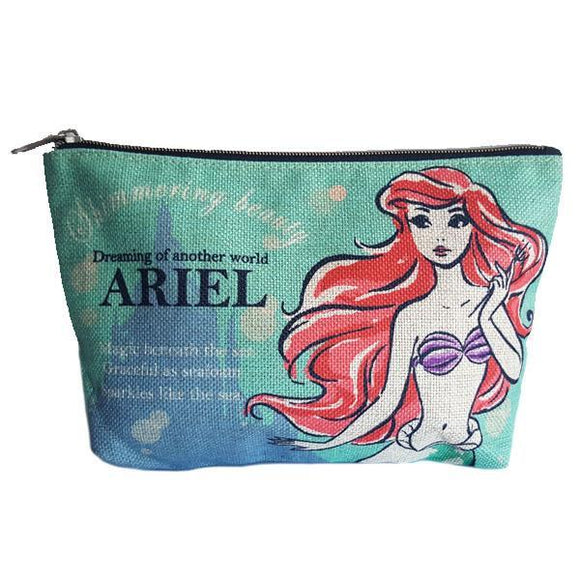 Disney Ariel The Little Mermaid Vintage Style Woven Makeup Cosmetics Bag - Undead Inc Cosmetics Bag,