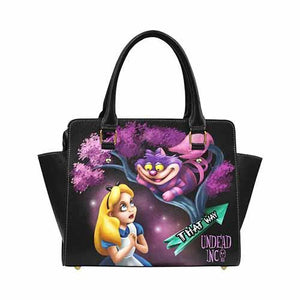 Undead Inc Alice In Wonderland Cheshire Cat That Way Premium PU Leather Shoulder / Hand Bag