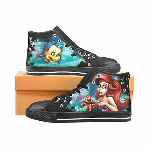 Ariel Little Mermaid Men's Classic High Top Canvas Shoes