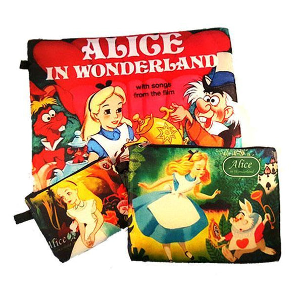 Disney Alice in Wonderland Makeup Cosmetics Bag Set of 3 - Undead Inc Cosmetics Bag,