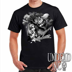 Alice In Wonderland Cheshire Cat THAT WAY Black Grey - Mens T Shirt - Undead Inc Mens T-shirts,
