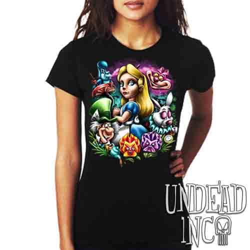 Alice In Wonderland Mad World - Ladies T Shirt