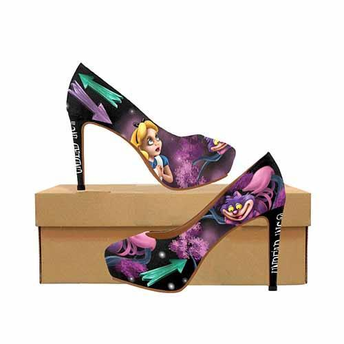 Alice In Wonderland Cheshire Cat That Way Platform High Heels - Undead Inc High Heels,