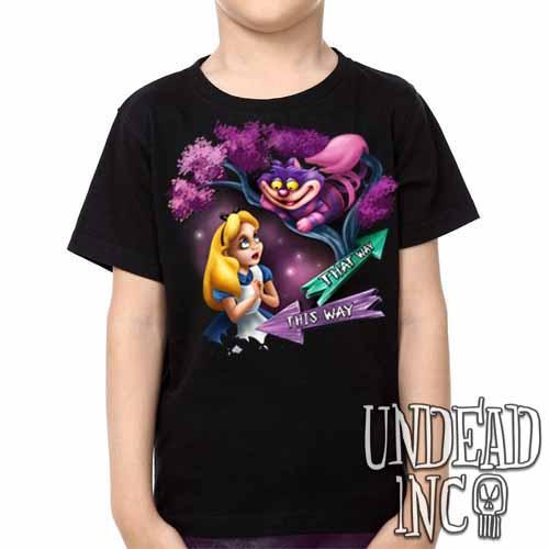 Alice In Wonderland Cheshire Cat THAT WAY - Kids Unisex Girls and Boys T shirt - Undead Inc Kids T-shirts,
