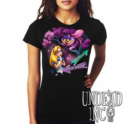 Alice In Wonderland Cheshire Cat THAT WAY - Ladies T Shirt - Undead Inc Ladies T-shirts,