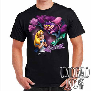 Alice In Wonderland Cheshire Cat THAT WAY - Mens T Shirt - Undead Inc Mens T-shirts,