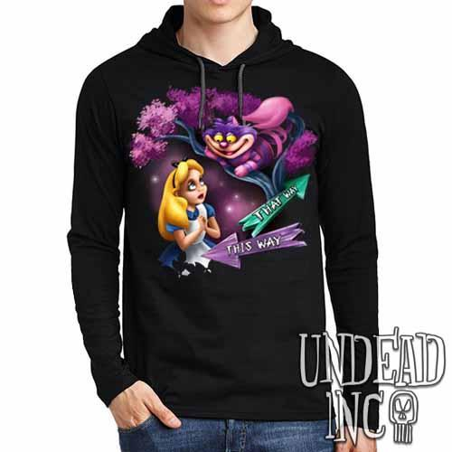 Alice In Wonderland Cheshire Cat THAT WAY - Mens Long Sleeve Hooded Shirt - Undead Inc Long Sleeve T Shirt,