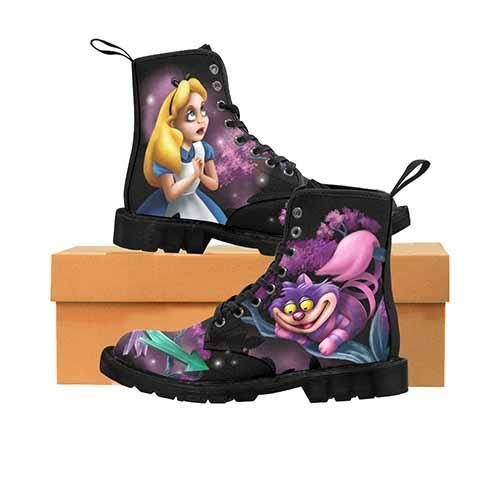 Alice In Wonderland This Way That Way Cheshire Cat LADIES Martin Boots - Undead Inc Womens Boots,