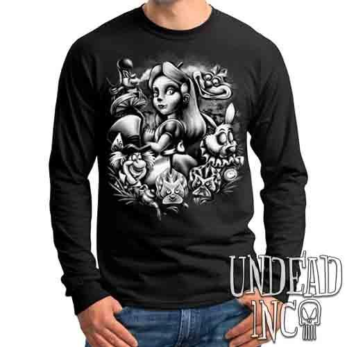 Alice In Wonderland Mad World Black & Grey - Mens Long Sleeve Tee