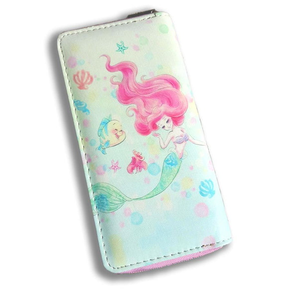 The Little Mermaid Watercolor Ariel Disney Long Line Wallet Purse