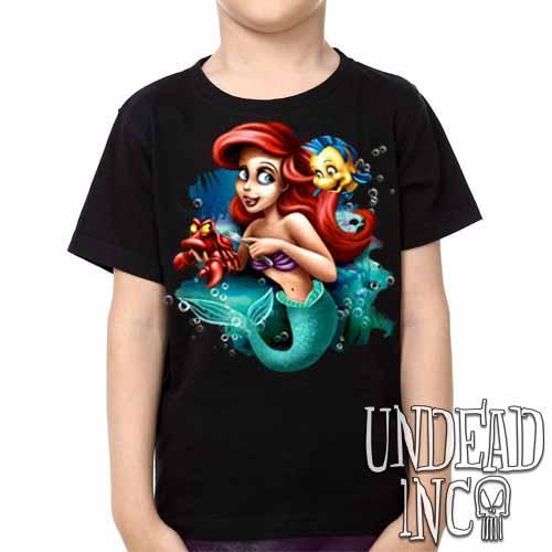 Ariel Sebastian Dinglehopper Brushing -  Kids Unisex Girls and Boys T shirt Clothing - Undead Inc Kids T-shirts,