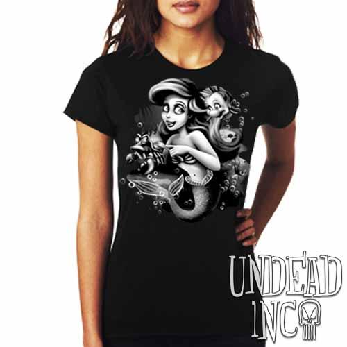 Ariel Sebastian Dinglehopper Brushing Black & Grey - Ladies T Shirt - Undead Inc Ladies T-shirts,