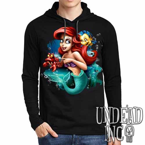 Ariel Sebastian Dinglehopper Brushing - Mens Long Sleeve Hooded Shirt - Undead Inc Long Sleeve T Shirt,