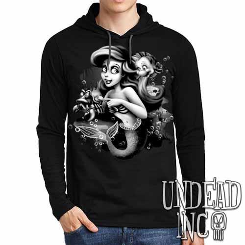 Ariel Sebastian Dinglehopper Brushing Black & Grey - Mens Long Sleeve Hooded Shirt - Undead Inc Long Sleeve T Shirt,