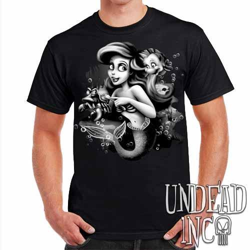 Ariel Sebastian Dinglehopper Brushing Black & Grey Mens T Shirt - Undead Inc Mens T-shirts,