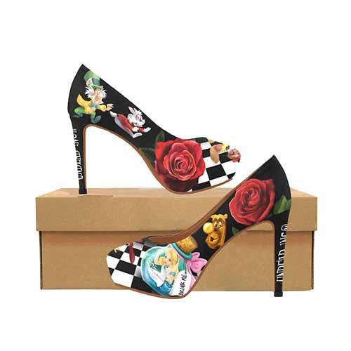 Alice In Wonderland Down The Rabbit Hole Platform High Heels - Undead Inc High Heels,