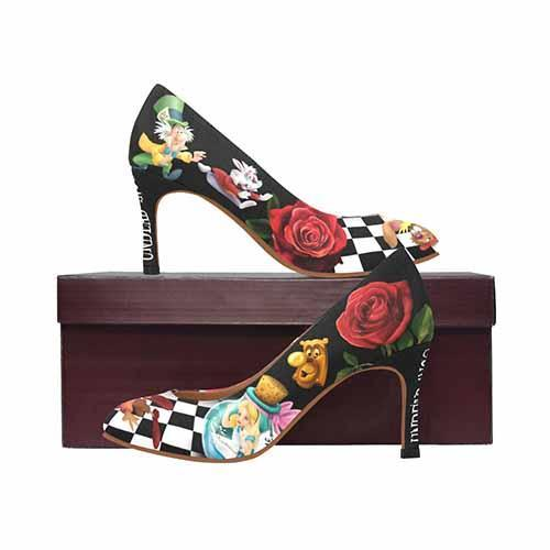 Alice In Wonderland Down The Rabbit Hole MEDIUM High Heels - Undead Inc High Heels,