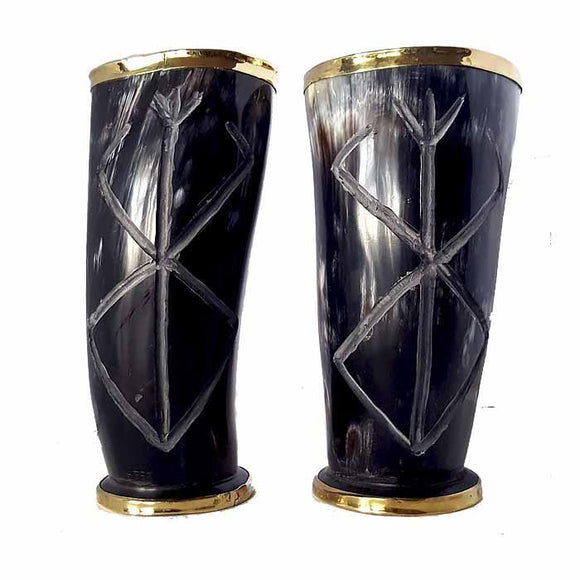 Viking Berserker Rune Hand Carved Drinking Horn Set Of 2