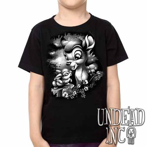 Bambi & Thumper -  Kids Unisex Girls and Boys T shirt Clothing Black Grey - Undead Inc Kids T-shirts,