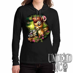 Bambi & Thumper - Ladies Long Sleeve Hooded Shirt - Undead Inc Long Sleeve T Shirt,