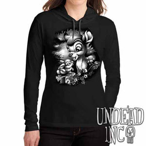 Bambi & Thumper Black Grey Ladies Long Sleeve Hooded Shirt - Undead Inc Long Sleeve T Shirt,