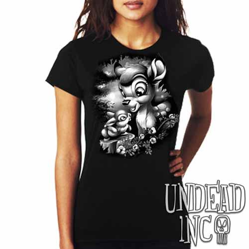 Bambi & Thumper - Ladies T Shirt Black Grey - Undead Inc Ladies T-shirts,