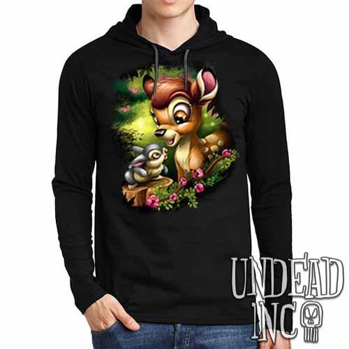 Bambi & Thumper - Mens Long Sleeve Hooded Shirt - Undead Inc Long Sleeve T Shirt,