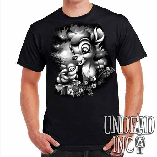 Bambi & Thumper - Mens T Shirt Black Grey - Undead Inc Mens T-shirts,