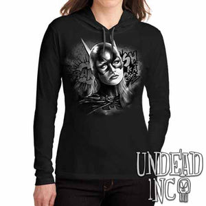 Batgirl Black Grey Ladies Long Sleeve Hooded Shirt - Undead Inc Long Sleeve T Shirt,