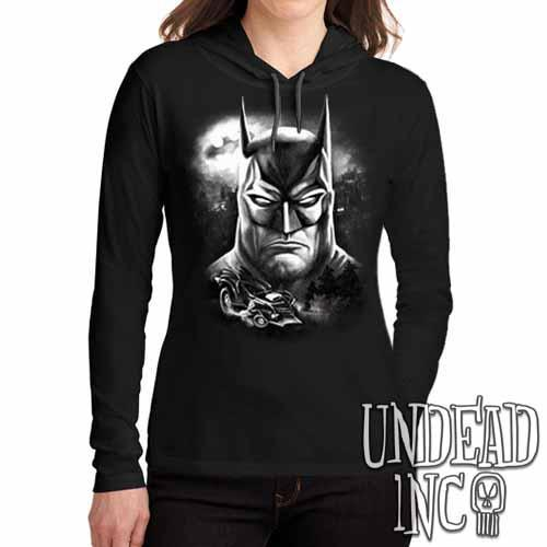 Batman Black Grey Ladies Long Sleeve Hooded Shirt - Undead Inc Long Sleeve T Shirt,