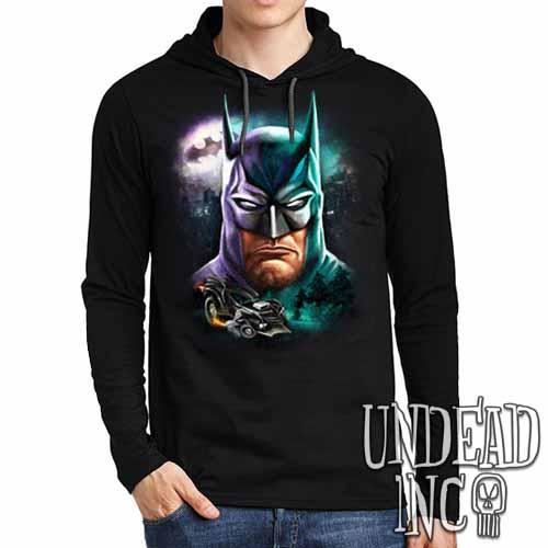 Batman - Mens Long Sleeve Hooded Shirt - Undead Inc Long Sleeve T Shirt,