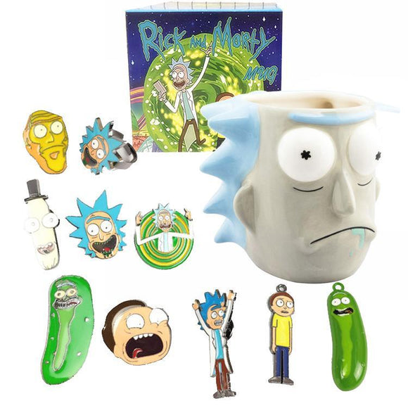 Rick & Morty - Necklace Pin & Ring Set With RICK Mug
