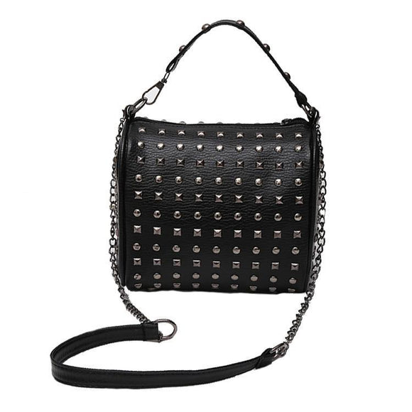 Black Studded Punk Handbag with Removable Shoulder Chain - Undead Inc Shoulder Handbags,