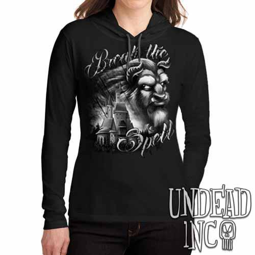 "Beauty & the Beast ""Break the Spell"" Black Grey Ladies Long Sleeve Hooded Shirt - Undead Inc Long Sleeve T Shirt,"