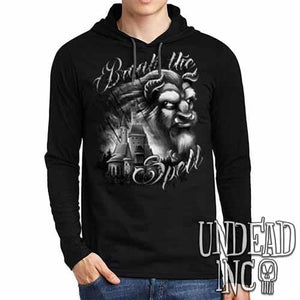 "Beauty & the Beast ""Break the Spell"" Black Grey Mens Long Sleeve Hooded Shirt - Undead Inc Long Sleeve T Shirt,"