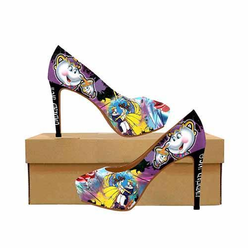 Beauty & The Beast Potts & Chip Stained Glass Graffiti Platform High Heels - Undead Inc High Heels,