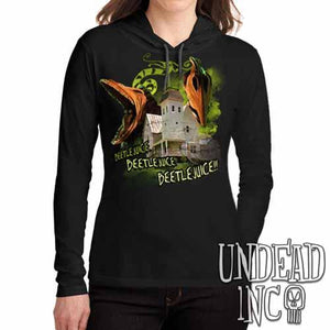 Tim Burton Beetlejuice Haunted House Barbara and Adam - Ladies Long Sleeve Hooded Shirt