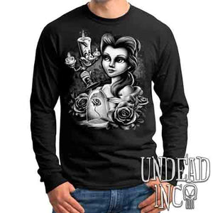 Beauty & the Beast - Belle & Lumiere Black & Grey - Mens Long Sleeve Tee