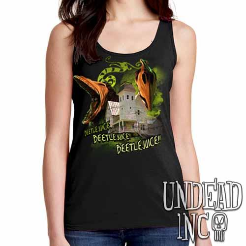 Tim Burton Beetlejuice Haunted House Barbara and Adam - Ladies Singlet Tank