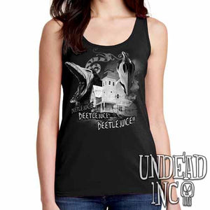 Tim Burton Beetlejuice Haunted House Barbara and Adam - Ladies Singlet Tank - Black Grey