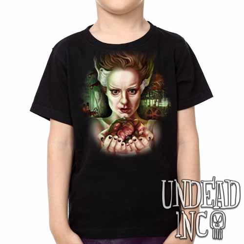 Bride Of Frankenstein Heart - Kids Unisex Girls and Boys T shirt Clothing - Undead Inc Kids T-shirts,