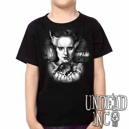 Bride Of Frankenstein Heart - Kids Unisex Girls and Boys T shirt Clothing Black Grey - Undead Inc Kids T-shirts,