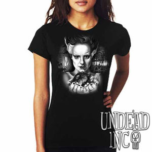 Bride Of Frankenstein Heart - Ladies T Shirt Black Grey - Undead Inc Ladies T-shirts,