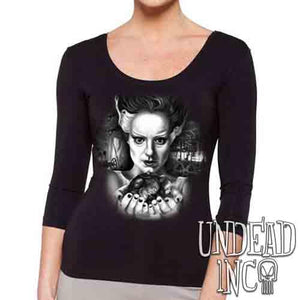 Bride Of Frankenstein Heart Black & Grey - Ladies 3/4 Long Sleeve Tee