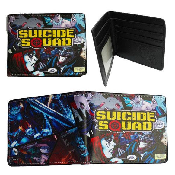 Suicide Squad Joker & Harley Quinn Comic Book Style PU Leather Bifold Wallet