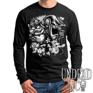Care Bears Captured - Beastly & No Heart Black & Grey - Mens Long Sleeve Tee